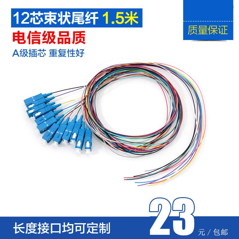YOUYSI 电信级12芯彩色束状SC光纤尾纤 ODF 12芯熔纤盘用单模方口光纤线SC/APC束状纤
