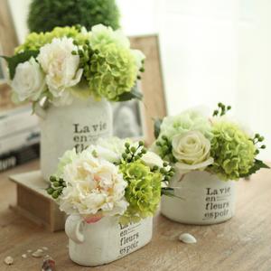 米子家居 仿真花套装假花客厅绢花装饰花摆件 绣球陶土盆整体花艺