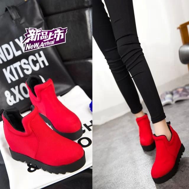 Осень 2015 Корейский принцесса клинья платформы ботинки высокой пятки сапоги Зима Обувь женская обувь, сумки и голые почта