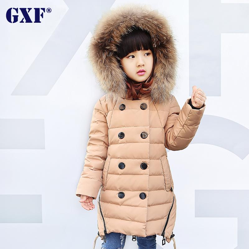 GXF детей сезон вокруг кошельки новый мягкий куртка вниз куртка девушки носить перо танк girl