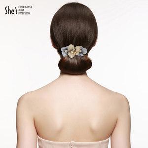shes发饰 手工双色刺绣花朵盘发发夹 仿珍珠弹簧夹横夹马尾夹头饰