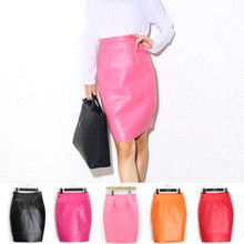 Autumn and winter in Europe and the pure color pu bust leather skirt cultivate one's morality show thin zipper group of tall waist joker a word step package hip knee skirt