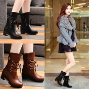 2015 shield Fox new shoes for fall/winter round head strap wedges Martin boots women boots, high heel boots in Europe and America the tide
