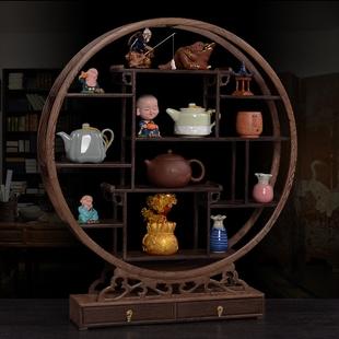 鸡翅木小博古架实木中式仿古多宝阁茶具杯架茶壶架古董摆件展示架