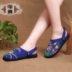 Chinese dance authentic national cool slippers women embroidered shoes in summer and autumn layer breathable casual shoes at the end of a garden