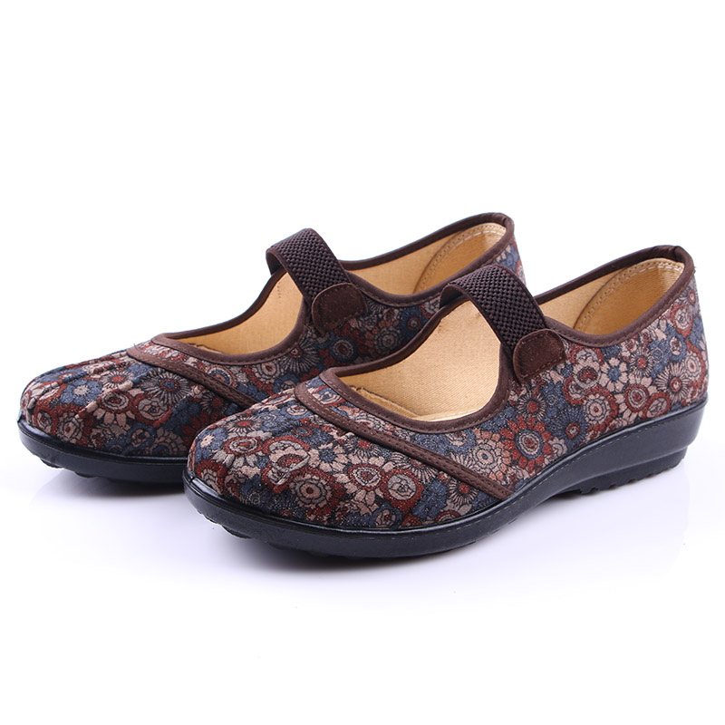 Xinqing spring autumn old Beijing cloth shoes womens low top shallow mouth mothers shoes printed shoes middle-aged and elderly single shoes