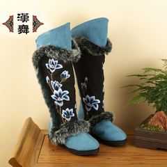 Chinese dance specials clearance fashion boots for fall/winter rabbit hair single boots national wind in the higher layer makeup women's boots at the end of the Jade