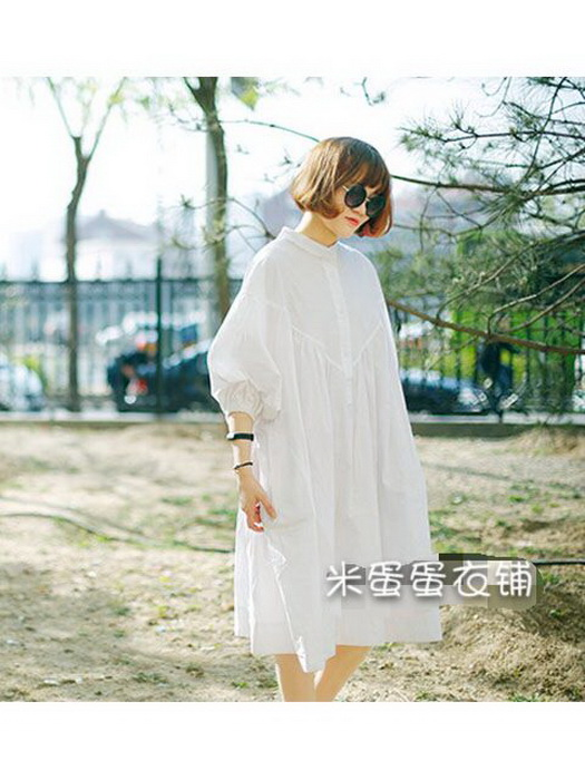 Autumn and winter dress August genuine solid color shirt loose large size shirt long version bottom coat womens mid long fashion