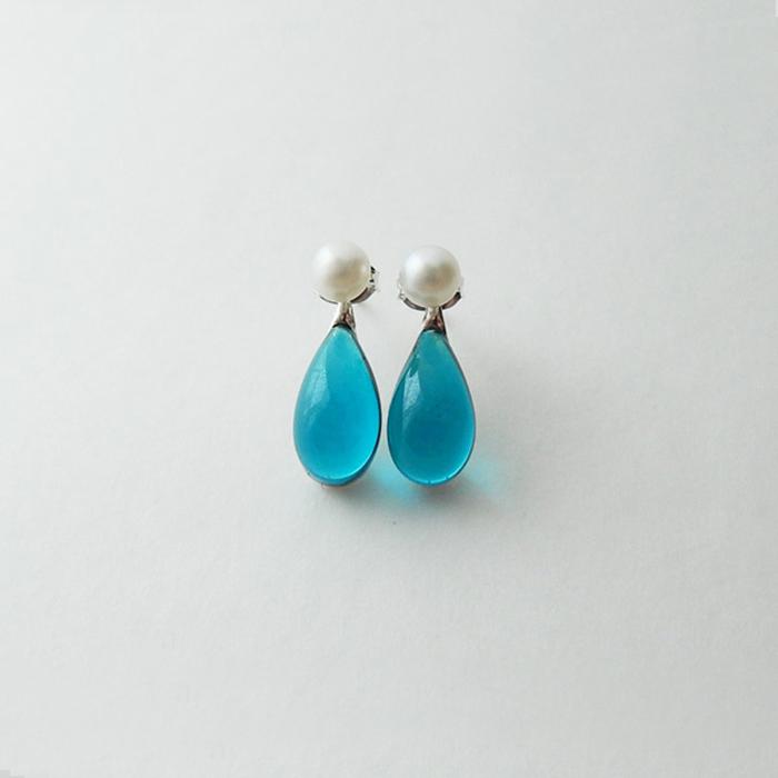人鱼的眼泪 海洋之心 珍珠水滴 knap原创设计琉璃925纯银耳钉耳环