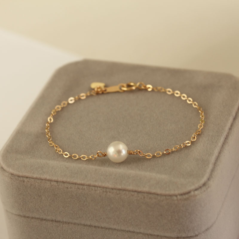 特惠 简约一颗珍珠手链细 天然淡水正圆女款单颗14K包金百搭