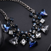 Good goddess jewelry in Europe and blue exaggerated accessories Korea Korean female short clavicle chain necklace jewelry