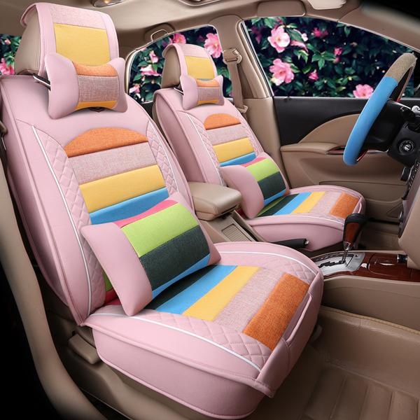 时尚卡通女士汽车坐垫四季通用汽车座套女可爱全包七彩汽车座垫