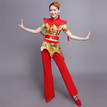 Weibaifu new dance performance costume Yangko clothing female modern waist inspiration national stage costume drum costume Tang suit