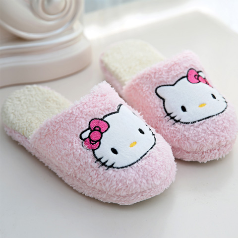 Cartoon cat home cotton slippers winter lovely womens slippers bow Plush floor soft mop