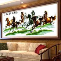 印花十字繡線繡八駿圖馬到成功2019新款客廳書房大幅八匹馬風景畫