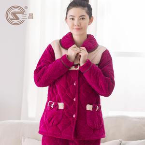 三昌冬季加厚三层珊瑚绒夹棉女士睡衣长款女人保暖棉袄家居服套装