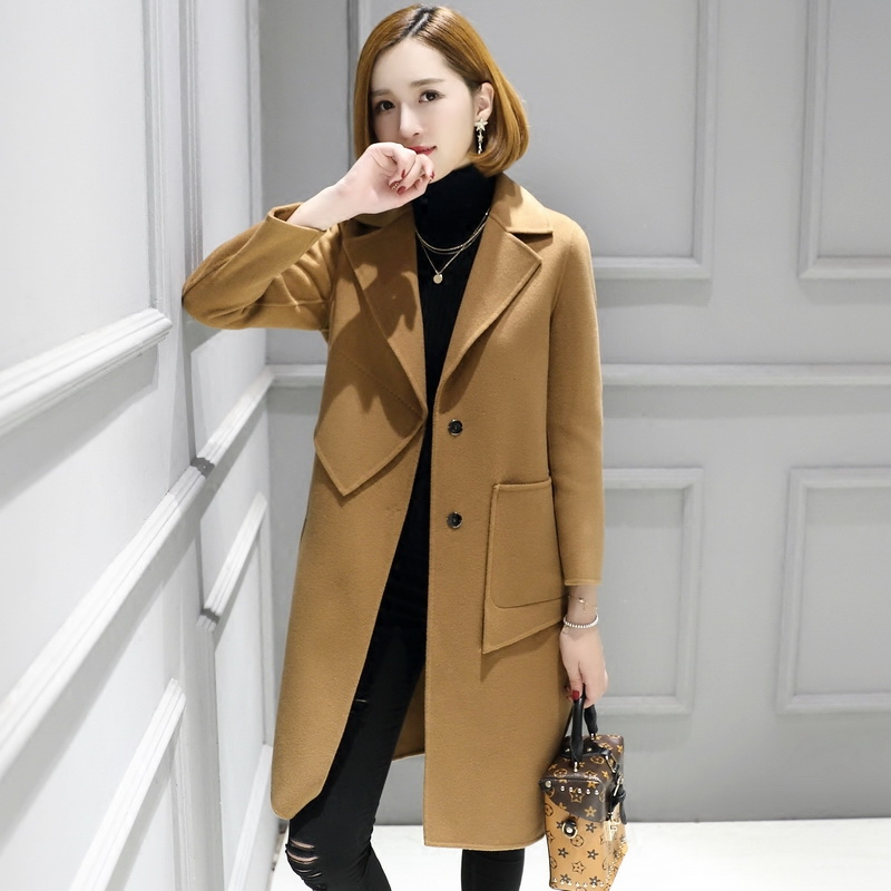 2019 new double-sided cashmere wool double-sided woolen coat wool woolen coat Nizi women's mid length zero cashmere high end