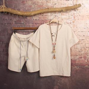 KXX夏季男士亚麻短袖T恤男装宽松棉麻薄款 V领上衣半袖运动套装潮