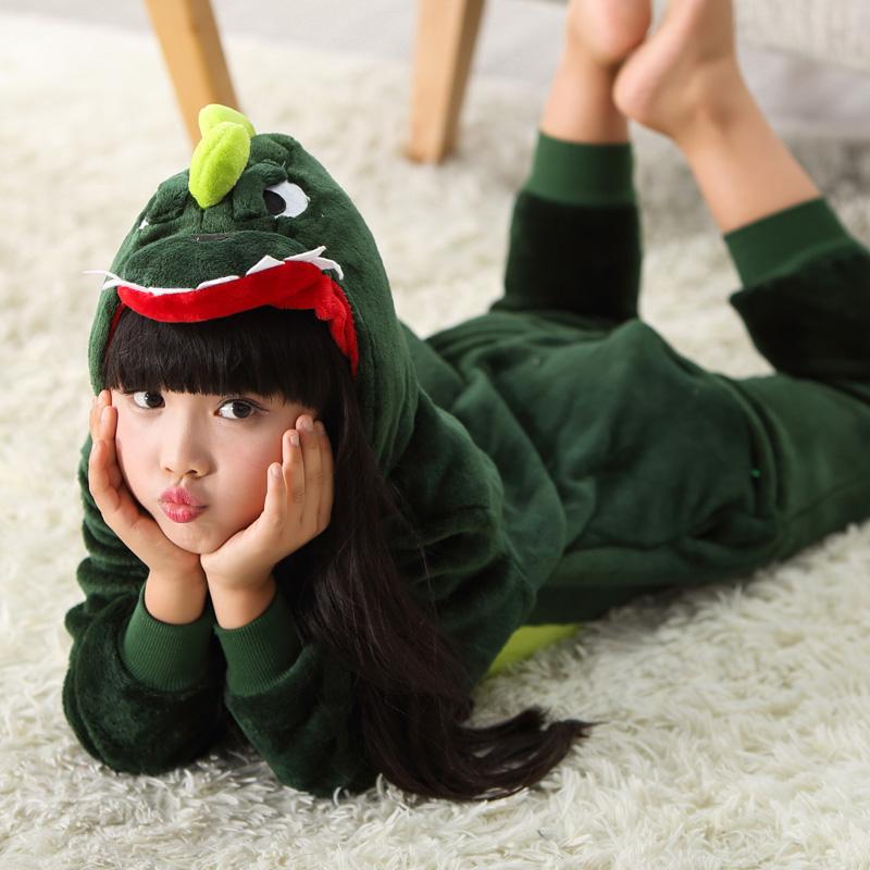 卡通恐龍法蘭絨小孩親子裝