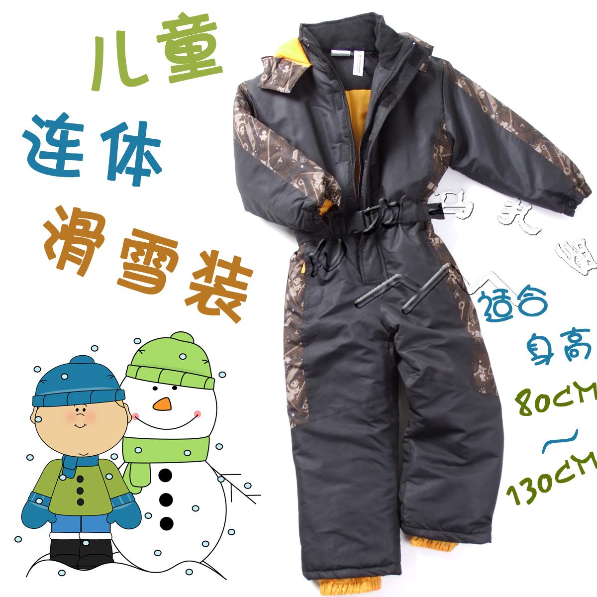 Детей цельный лыжный костюм открытый теплая одежда оригинальной одежды хлопка платье брюки сгущаться в области внешней торговли зимой