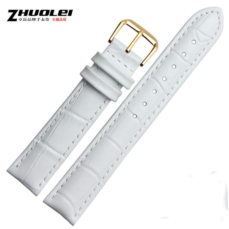 卓磊白色手表帶針扣12^|14^|16^|18^|20^|22mm 女裝真皮表帶 手表