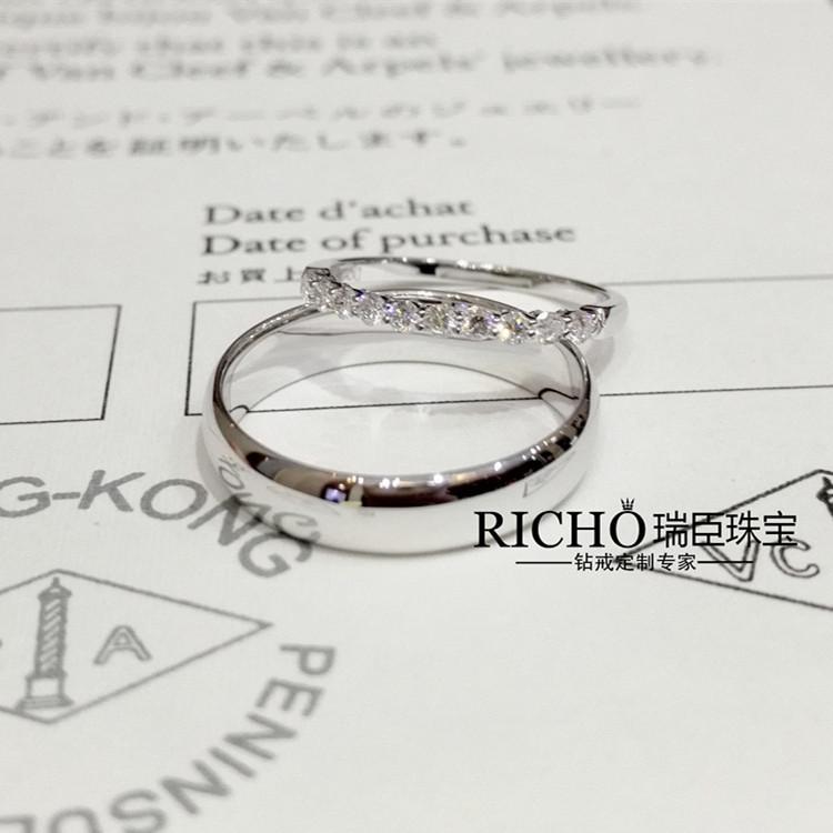 Platinum Diamond Princess ring couple pair wedding engagement diamond ring naked diamond custom Ruichen jewelry counter authentic