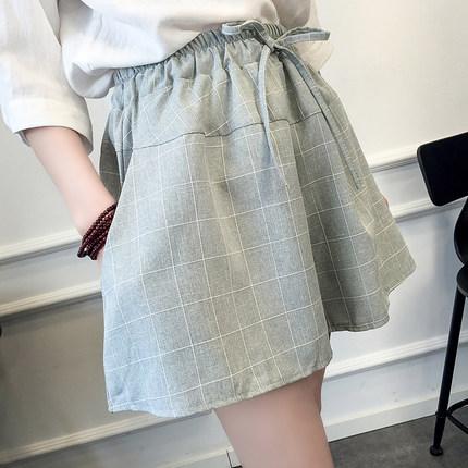 夏季新款韩版棉麻格子短裤女潮宽松大码显瘦学生阔腿裙裤休闲热裤