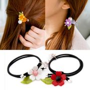 Know Connie hair accessories Korean version of little flower leaf loving sweet Pearl hair rope ring band jewelry