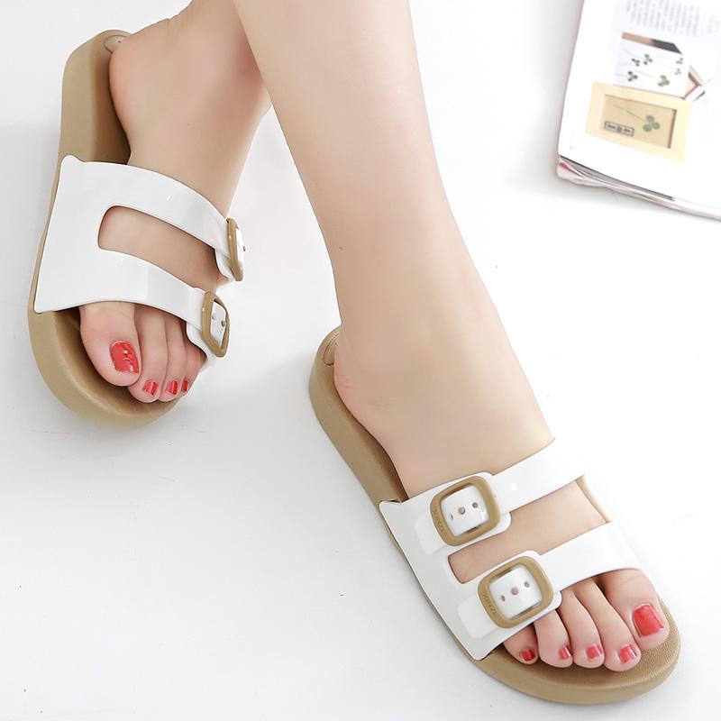 夏季防滑情侣沙滩鞋女一字拖厚底沙滩拖鞋平底夏天塑料凉拖鞋男女