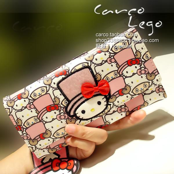 Hello Kitty Cat jobadoka double sided Long Wallet womens Korean three fold Wallet New Year gift