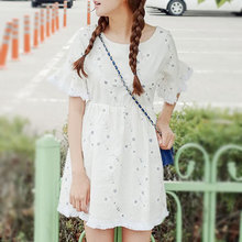 Summer wear the new small pure and fresh and restore ancient ways the flower printing flow Su Sen female wind skirt cotton loose dress