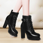 2015 winter New England wind shield Fox Martin boots, lace platform high heel women boots chunky heels booties boots tide