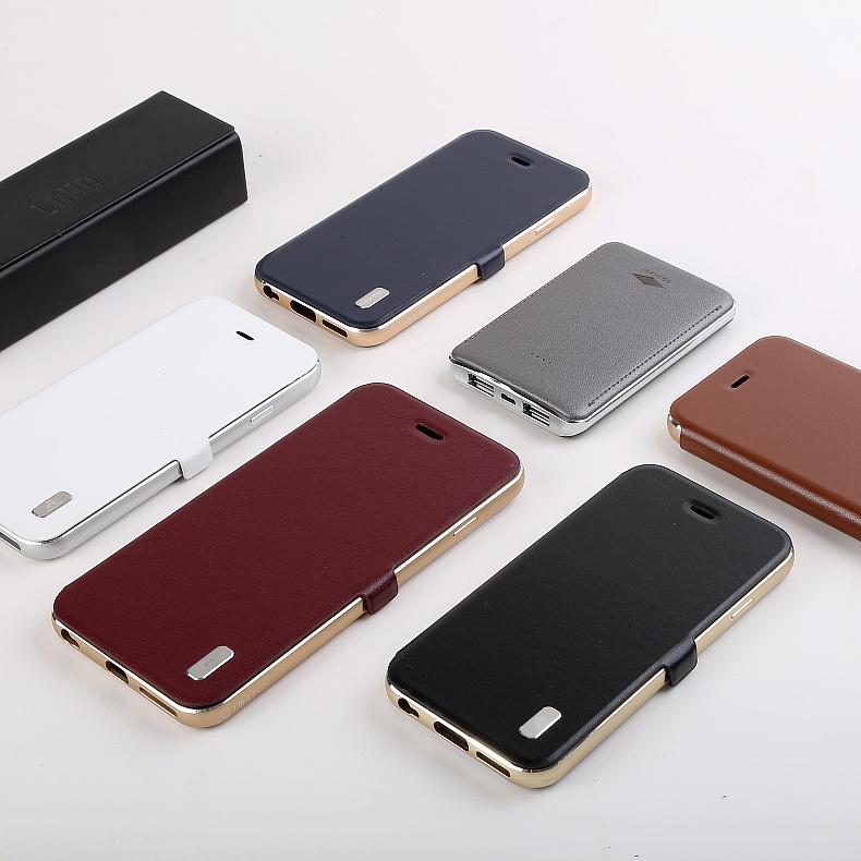 iMatch Luxury Aluminum Metal Bumper Premium Genuine Leather Flip Magnetic Case Cover for Apple iPhone 6S Plus/6 Plus & iPhone 6