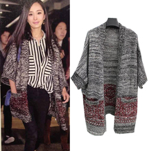 In the fall of the new star is Yang mi and female loose in Europe and the United States knitting long sleeve cardigan sweater coat