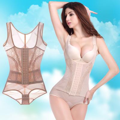 菲洛娜薄款透气前排口调节收腹束腰产后瘦身衣美体塑身衣连体夏