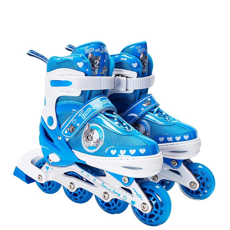 天真年代溜冰鞋兒童男女全套裝小孩初學輪滑鞋可調旱冰滑冰鞋閃光