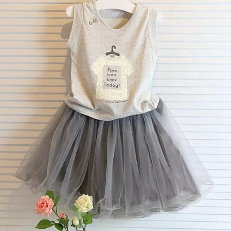 Темперамент! Новая Детская одежда весна/лето 2016 девушки письма печатных футболки + гриб юбка ребенка набор