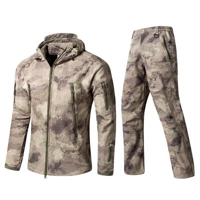 鲨鱼皮软壳冲锋衣裤套装两件套冬季户外保暖迷彩登山套服加厚加绒