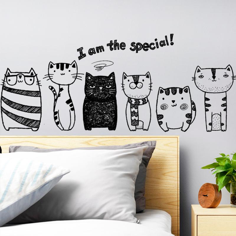 Личность гостиная спальня мода магазин идти галерея лестница декоративный статья наклейка творческий милый детский китти наклейки для стен бумага