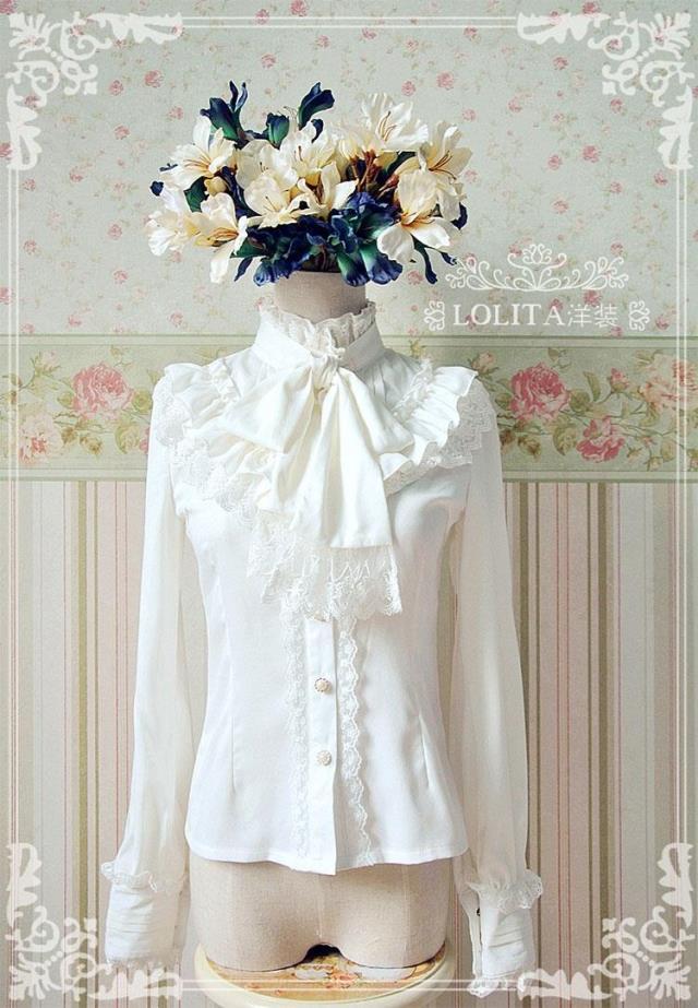 Lolita Dress high collar long sleeve standing collar shirt chiffon shirt bow shirt retro court high collar