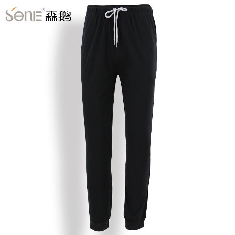 森鹅竹纤维薄款针织凉爽直筒宽松收口男长裤休闲裤吸湿透气新款