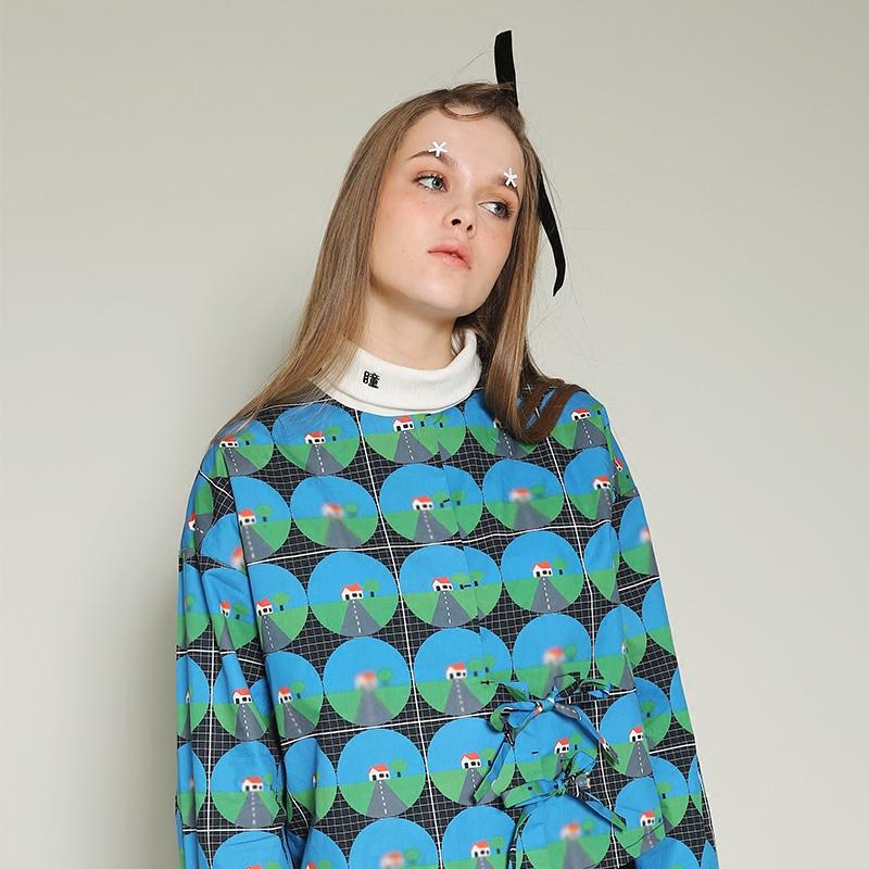 塔卡沙 视力系列 女款蓝色系带圆领衬衫FSF26