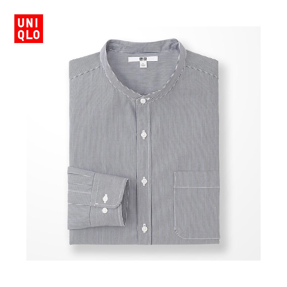 男裝 長絨棉立領襯衫^(長袖^) 193788 優衣庫UNIQLO