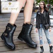 Europe increased rivet short boots and ankle boots for fall/winter locomotive cylinder Horseshoe leather short boots with round leather