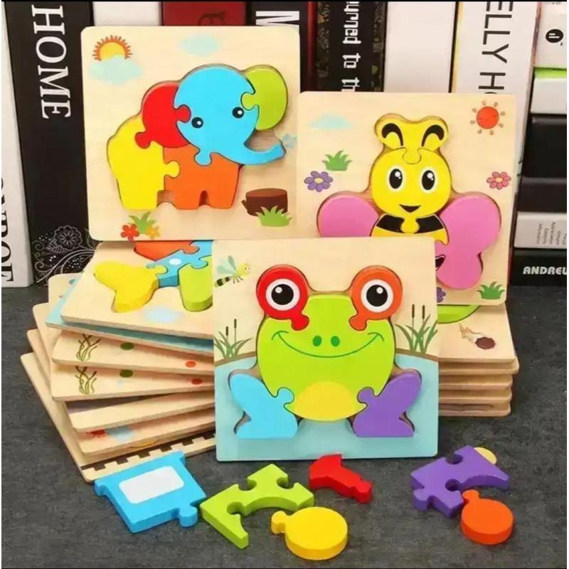 儿童益智玩具 小角丫立体拼图一个 无备注默认发大象款