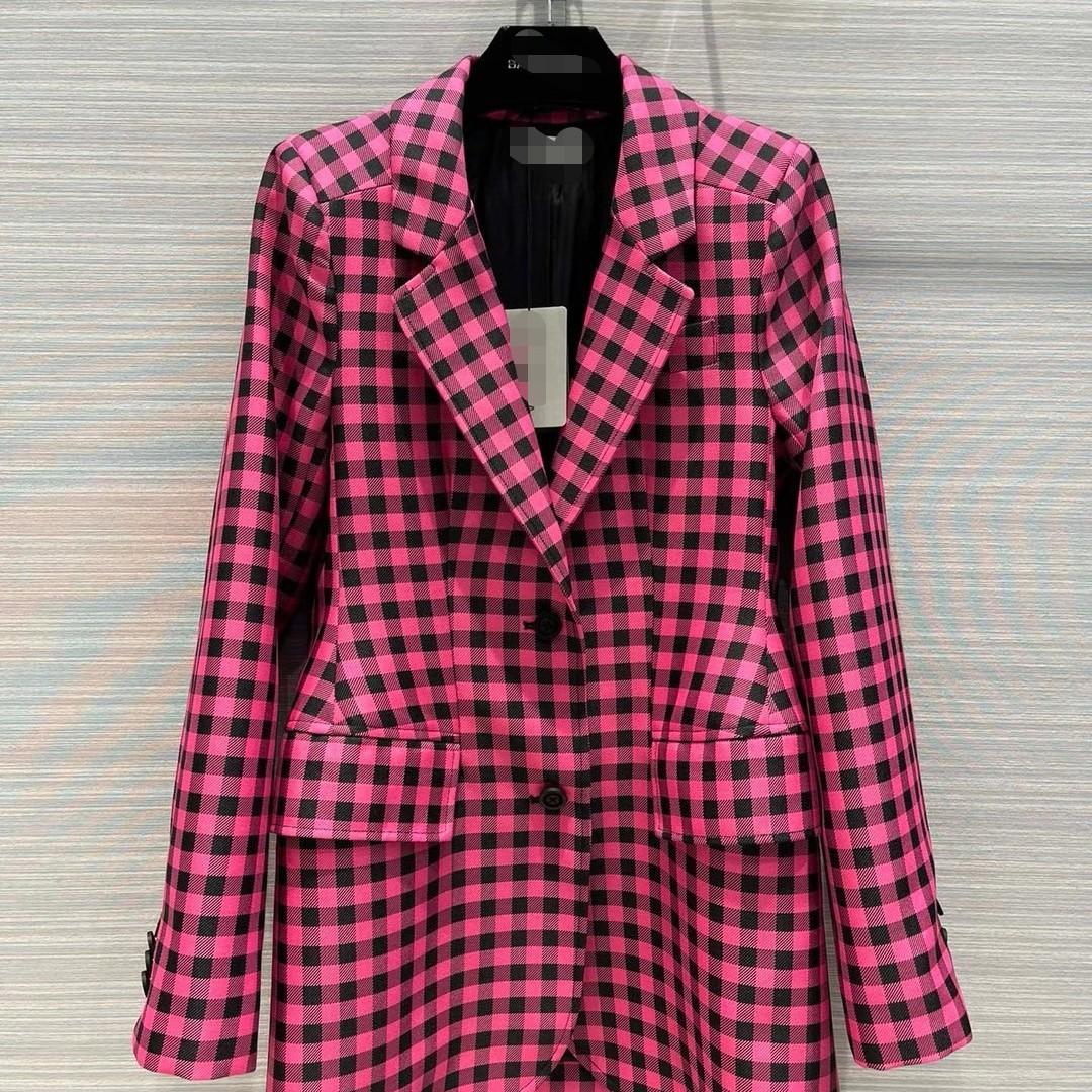 New haute couture womens style slim Plaid loose version medium length Lapel fashion versatile suit coat