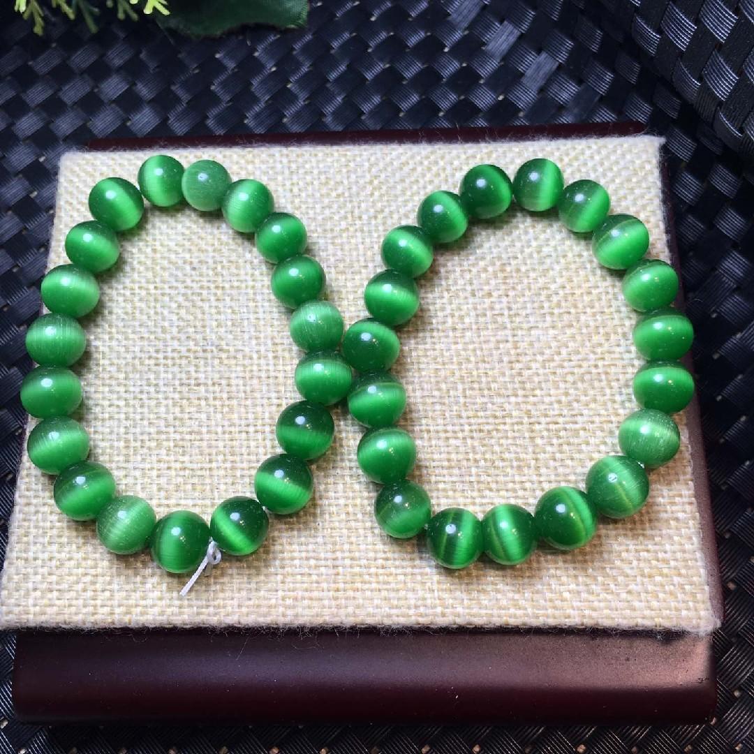 绿猫眼石10mm手链
