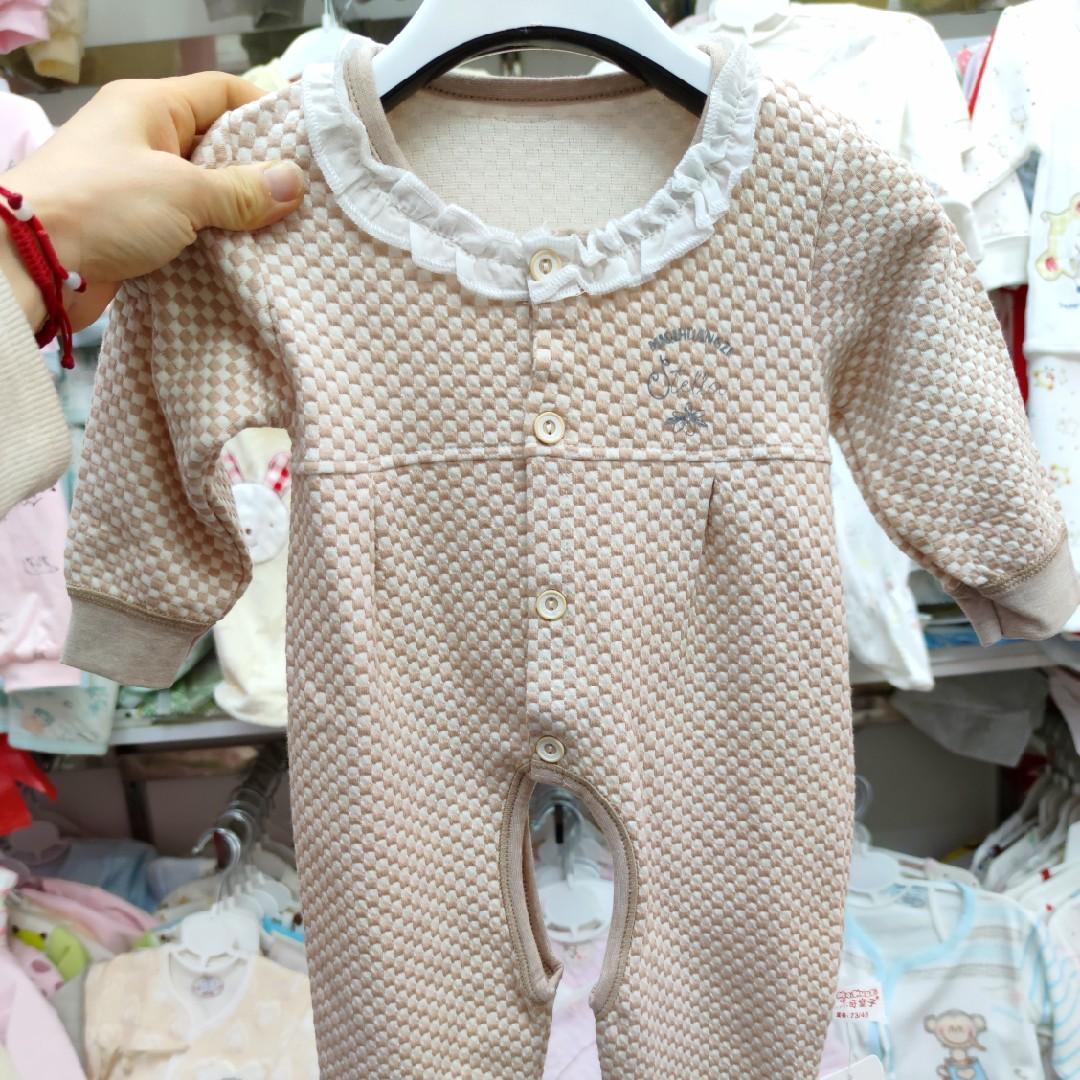 米奇皇子 提花开档连体衣 花边连身衣 长袖哈衣爬服 春秋婴儿服