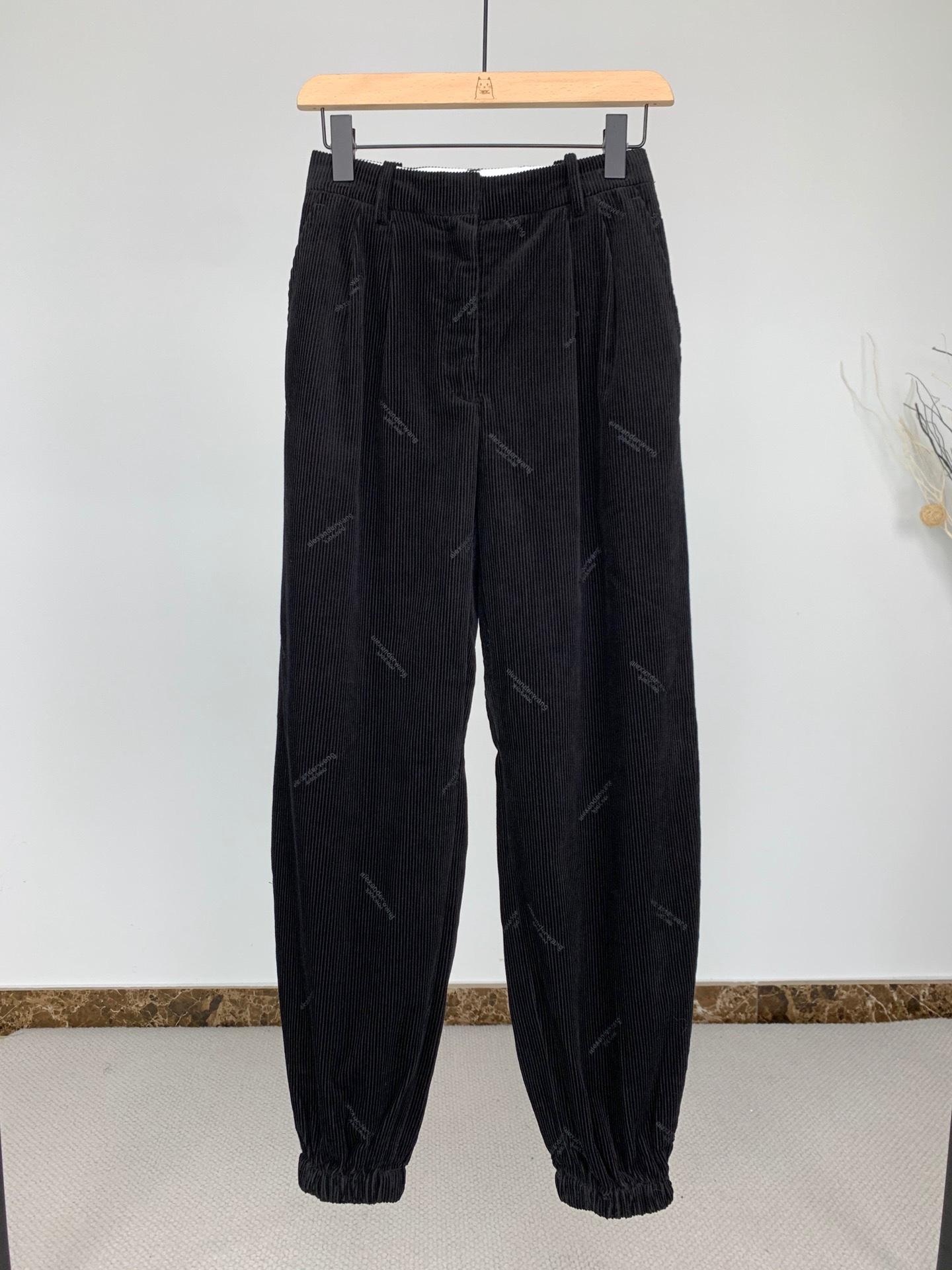 Dawang original tail casual pants womens 21 autumn letter embroidery medium high waist tapered corduroy pants
