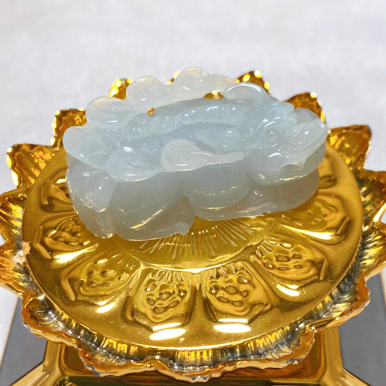 天禄冰糯种祥瑞珠宝 天然老坑A货翡翠貔貅吊坠 手工雕刻精品